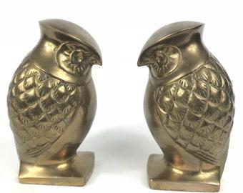 Vintage Pair Mid Century Modern Brass Owl Sculpture Bookends Paperweights