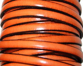 Flat leather strap, orange, 5 mm sold by 20 cm