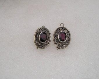 Lovely Ornate Sterling Silver Garnet Earrings