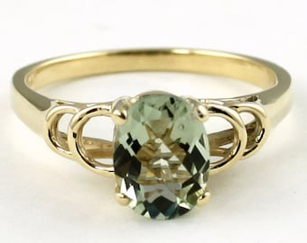 Green Amethyst, 10KY Gold Ring, R300