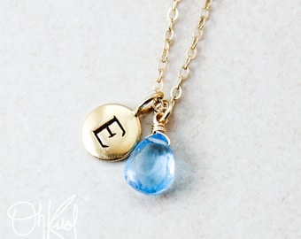 Sky Blue Topaz Necklace - Initial Charm - December Birthstone Necklace