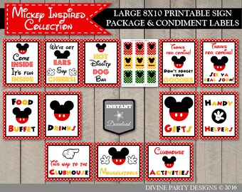 INSTANT DOWNLOAD Printable Classic Mouse Large 8x10 Sign Package / 12 Signs / Free Condiment Labels / Classic Mouse Collection / Item #1587
