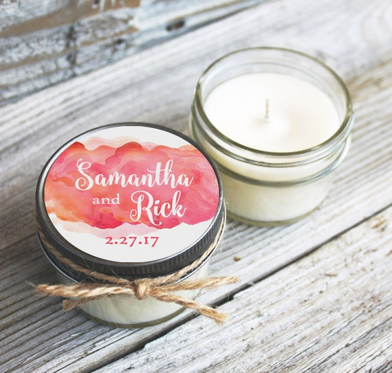 Set of 12 - 4 oz Wedding Favor Candles - Personalized Wedding Favors // Watercolor Clouds Wedding Favors //Candle Favors //Coral Wedding