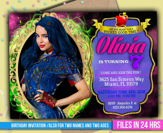 Disney Descendants Printable Birthday Invitation