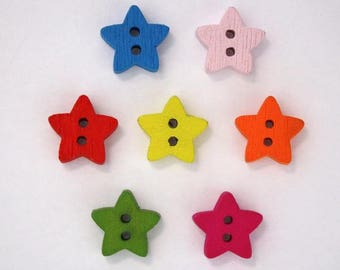 14mm mixed color - 001765 star wooden button