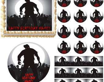 ZOMBIE SILHOUETTE Zombies Edible Cake Topper Image Frosting Sheet Cupcakes-Many Sizes to Choose From!!!