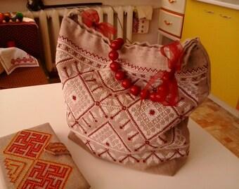 Comfortable summer bag. Ukrainian traditional embroidery cross