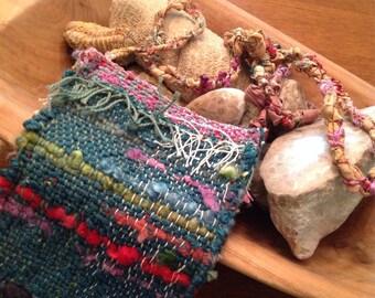 Crossbody Handwoven Bag Handspun Yarn Wool Silk Cotton Teal