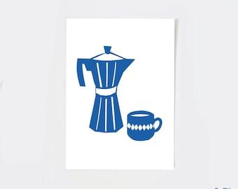 Coffee print, kitchen print, coffee art print, but first coffee print, blue coffee cup, coffee sign, vintage espresso maker, moka pot, 5x7