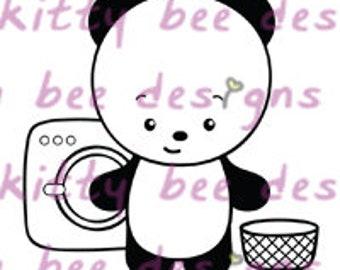 Wash Day Panda Digital Stamp