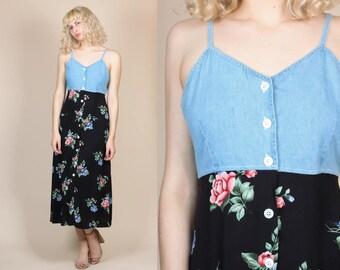 90s Grunge Midi Dress - Medium // Vintage Denim Floral Button Up