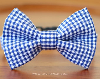 Classic Check Cat Bow Tie Collar – Blue