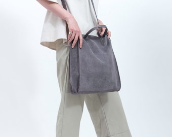 Grey Leather Tote bag, Soft leather tote bag, Office tote Bag, Grey Shoulder Bag, Casual Bag, Cross body Bag, New Collection!