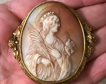 Antique French Carved Shell Cameo Virgin Mary Crown Dove Holy Spirit c1860