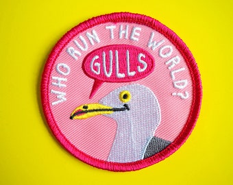 Funny Iron On Patch, Gulls Patch, Cute Seagull Patch, Embroidered Pink Patch, Bird Patch, Feminist Patch, Seagull Badge, Who Run The World