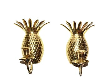 Vintage Pineapple Wall Sconce Pineapple Candle Holders Hollywood Regency Wall Sconces Pineapples Ananas Pina