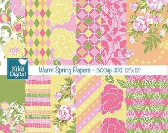 Warm Spring Digital Papers - Digital Scrapbook Papers - INSTANT DOWNLOAD card design, invitations, stickers, paper crafts, web design