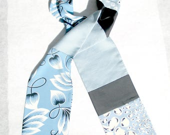 Pieced Scarf, Patchwork Scarf, Blue and White, Vintage Fabric, Floral Print,  Upcycled, Repurposed, Recycled, Scarf For Him, Casual, OOAK