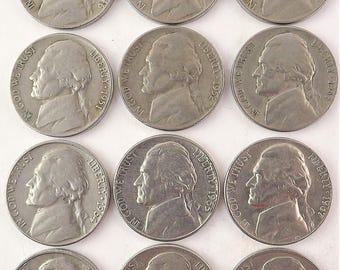 Jefferson Nickel Coins, 1954d 1956d 1958d 1961d 1962d 1963d 1964d 1970d 1971d 1972d 1975d 1976d Thomas Jefferson Coin Lot Set, Denver Mint