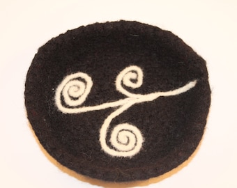 Felted Wool Shallow Dish: The Swirl
