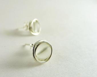 Clear sea glass stud earrings sea glass jewelry handmade earrings bridesmaids seaglass jewelry sterling silver wire wrapped beaded jewelry