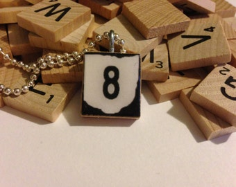 Route 8 Akron Ohio Scrabble Tile Pendant With Ball Chain Necklace