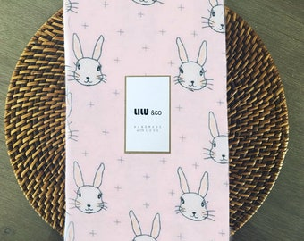 Cotton Flannelette - Pink Bunny - fitted sheet