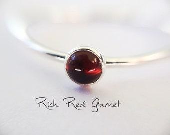 Garnet Stacking Ring, Garnet Ring, Natural Gemstone Ring, January Birthstone, Garnet, Gemstone Stacking Ring, Red, Garnet Stone, Gift