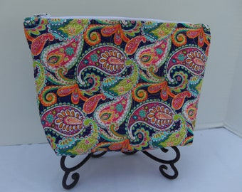 Orange Paisley Quilted Pouch