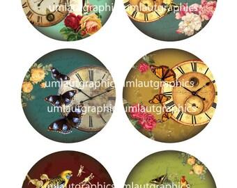 2,5 Zoll x 2,5 Collage Sheet Zoll Vintage Uhren Schmetterlinge Rosen für Taschenspiegel