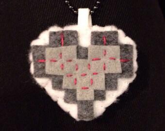Felt Pixelated Pink & Yellow Heart Necklace