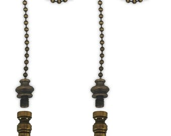 Royal Designs Fan Pull Chain with Vintage Key Design Finial – Antique Brass