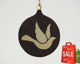 Dove ornament, peace dove, wood inlay dove, Christmas ornaments religious