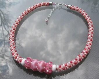 Pink Posies Kumihimo Necklace