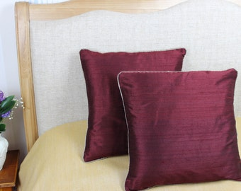 Decorative burgundy coloured 100% pure silk cushion / pillow cover 16 x 16 inch