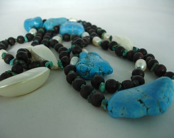 Mix of Materials - Turquois, Cultured pearls, Acryluc, Wooden Beads, Nuggets - Long Necklace - Blue, Brown, White Cream