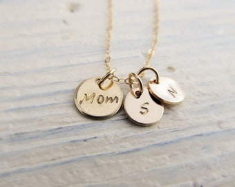 Mom Gift, Personalized Necklace with Kids Initials in 14k Gold Filled, Disc Necklace, Initial Jewelry for Mother, Charm Necklace for Mom