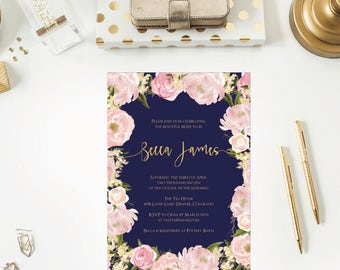 Navy   Gold   Blush Bridal Shower Invitations