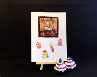 Bakers card, handmade recycled fabric greeting card, blank card, birthday card, thinking of you card, thank you card, OOAK card