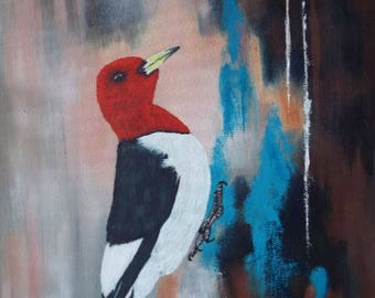 redheaded woodpecker oil painting 11x14
