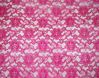 Fuschia rachelle lace flower mesh sheer polyester home decor by the yard