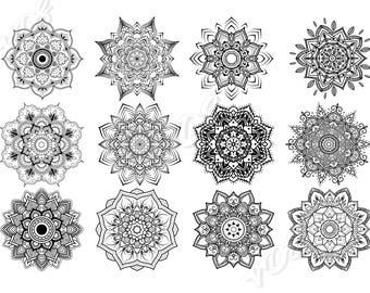 Mandala SVG.12 elements.Mandala monogram digital download.Vector.Mandala Clipart Vector.floral svg, circle monogram svg,Include SVG, files.