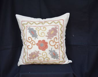 Couch Suzani pillow cover Handwoven pillow cover Pastel Suzani pillow cover Set pillow cover Decorative pillow cover Sofa pillow S-14