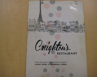 Creighton's Restaurant Early Menu, Fort Lauderdale, 1955, Vanished Americana, RARE