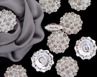 10 Large Rhinestone Button Flatback Brooch Embellishment Crystal Wedding Brooch Bouquet Cake Hair Comb Clip RD130