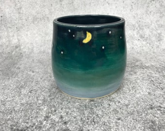Starry Night Tumbler - small cup - handheld cup - hand painted cup - pottery - ceramic tumbler