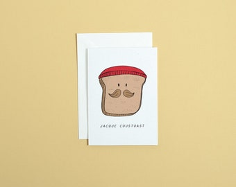JACQUE COUSTEAU // jacque coustoast greetings card // birthday greetings card // illustrated greetings card // funny famous person card //