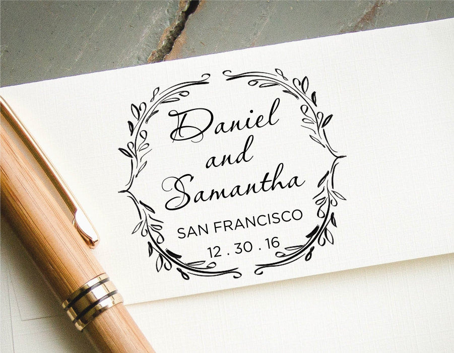 Wedding Invite Stamp: Round Save The Date Stamp Self-Inking Custom Rubber Stamp