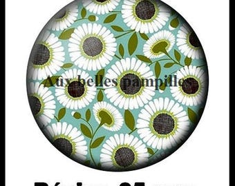 Round cabochon resin 25 mm - craft Daisy (1515) - nature, flower, floral