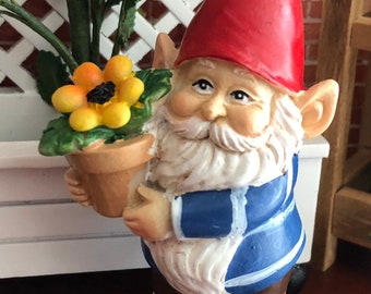 Mini Gnome Figurine, Gnome With Flower Pot, Cheerful Standing Gnome, Miniature Garden Decor, Shelf Sitter, Topper, Gift, Garden Gnome